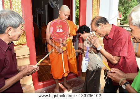 Nakhonnayok-thailand ,july 3 : Newly Ordained Buddhist Monk Pray With Priest Procession. Newly Ordai