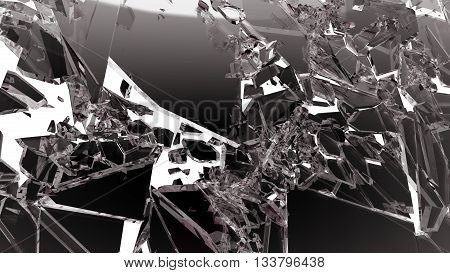 Demolished Glass With Sharp Pieces