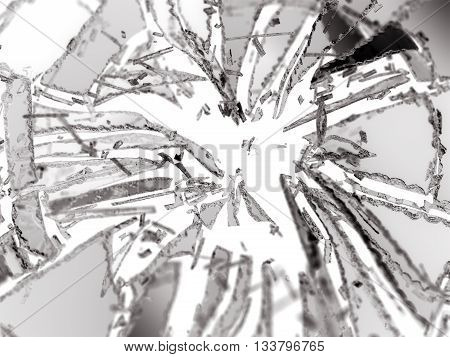 Shattered Or Demolished Glass Pieces Isolated