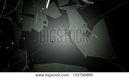 Broken And Damaged Glass Over Black