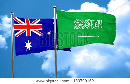 Australia flag with Saudi Arabia flag, 3D rendering