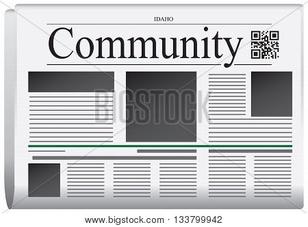 Newspaper Idaho - Community. Title page abstract of the newspaper with the bar code.