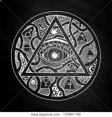All seeing eye pyramid symbol in tattoo engraving design. Vintage hand drawn freedom, spiritual, occultism and mason sign in doodle style. Eye of providence illustration on chalkboard.