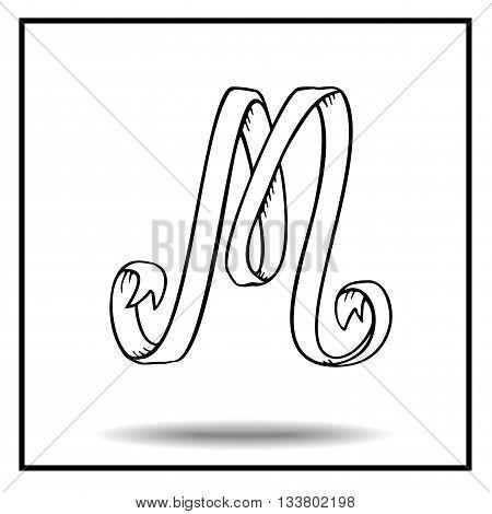 Ribbon alphabet. Ribbon letter. Ribbon M. Display ribbon font. Sketch ribbon latter M.