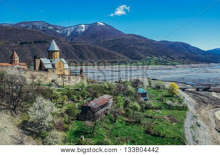 Ananuri Georgia - April 25 2015. View on Ananuri Castle with Church of the Assumption in Georgia