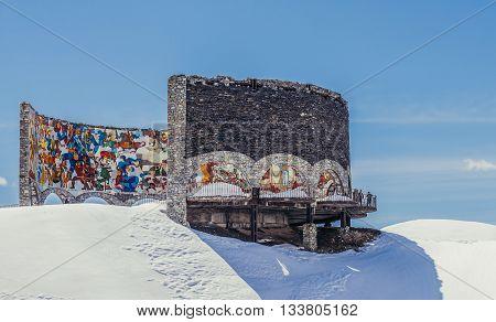 Guduari Georgia - April 25 2015. Soviet and Georgian Friendship monument near Guduari ski resort in Georgia