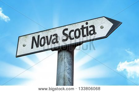 Nova Scotia direction sign in a concept image