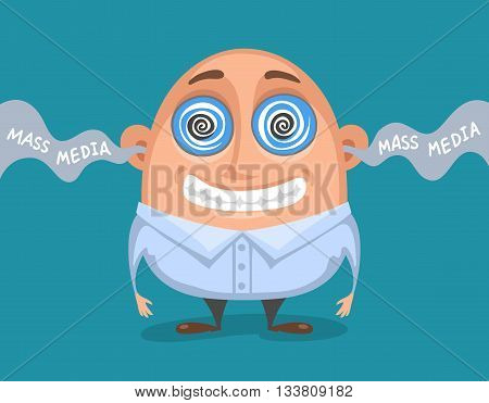 Cute caricatured person hypnotized by mass media. Influence of mass media on human poster