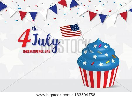 Independence Day 4 th July celebration Cupcake with United States flag