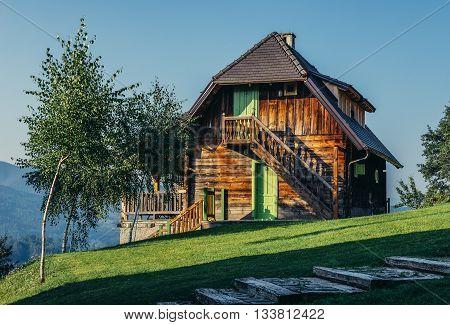 Drvengrad Serbia - August 28 2015. Wooden guest house in Drvengrad village built by Emir Kusturica