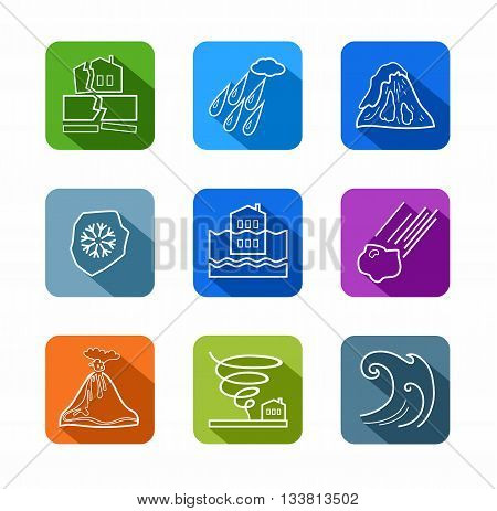 Vector linear icons of natural disasters and cataclysms. White image on a colored background with a shadow. Flat style.