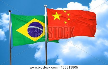 Brasil flag with China flag, 3D rendering