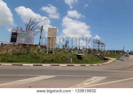February 25 2016 - destruction caused by tropical cyclone Winston. Currently under construction hospital destroyed . Ba city. Island Viti Levu. Fiji