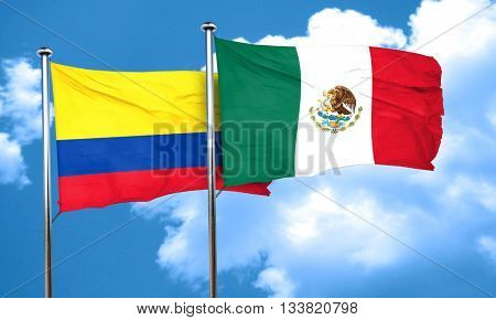 Colombia flag with Mexico flag, 3D rendering