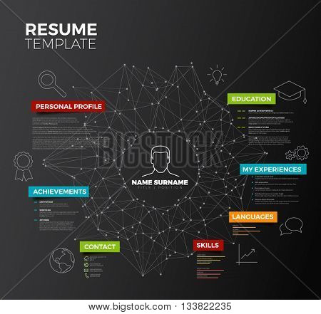 Vector dark original minimalist cv / resume template - creative version with colorful headings and icons