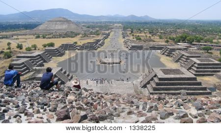 Teotihuacan From The Moon Pyramid  Mexico  Panorama