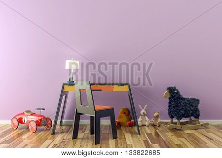 Empty kids room with toys work desk and chair. 3D illustration
