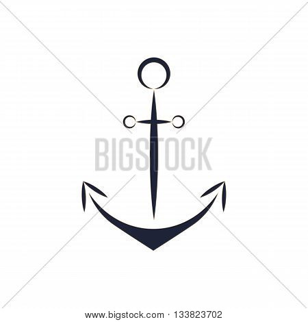 Flat style anchor/ anchor logo/ anchor vector blue