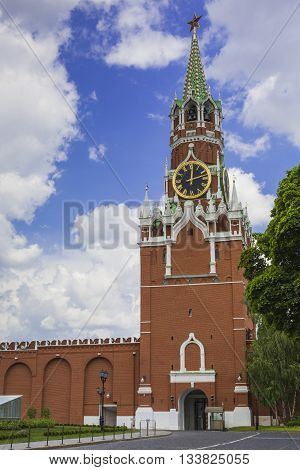 Moscow - June 04, 2016 : Kremlin Chiming Clock Of The Spasskaya Tower. Moscow. Russia