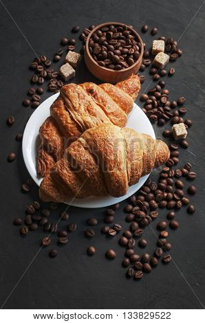 Fresh Croissant And Coffee Beans