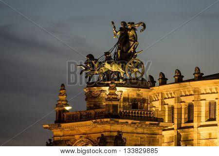 Quadriga on the Semperoper in Dresden (Germany).