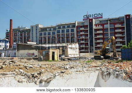 KRAKOW, POLAND - May 24, 2016: Podgorze district, Przemyslowa street. Modernization and expansion of the old industrial area.