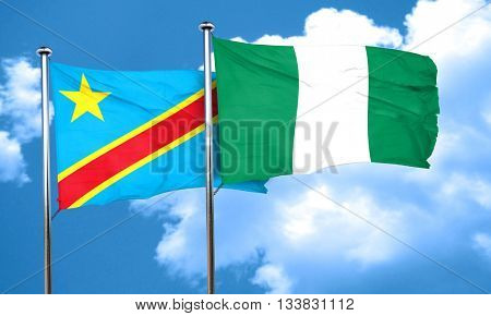 Democratic republic of the congo flag with Nigeria flag, 3D rend