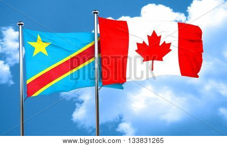 Democratic republic of the congo flag with Canada flag, 3D rende