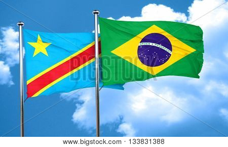 Democratic republic of the congo flag with Brazil flag, 3D rende