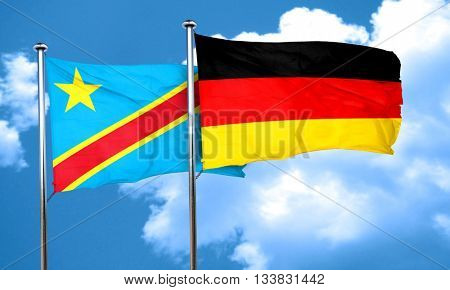 Democratic republic of the congo flag with Germany flag, 3D rend