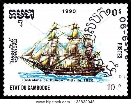 STAVROPOL RUSSIA - MAY 29 2016: a stamp printed by Cambodia shows old ship The astrolabe of Dumont d' Uville 1826 circa 1990 .