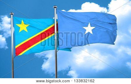 Democratic republic of the congo flag with Somalia flag, 3D rend