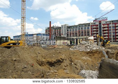 KRAKOW, POLAND - June 04, 2016: Podgorze district, Przemyslowa street. Modernization and expansion of the old industrial area.