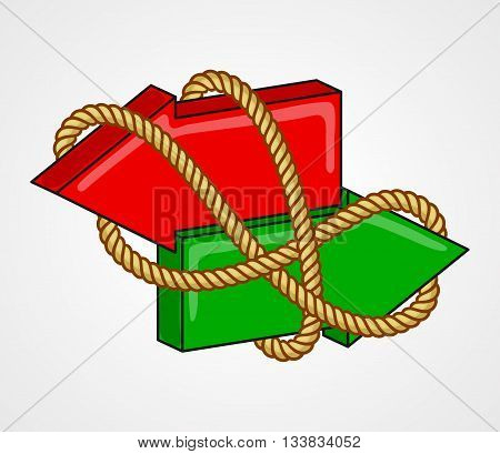 Red and green arrows pointing in opposite directions, bound with rope. Interconnection of alternatives interdependence of opposing action