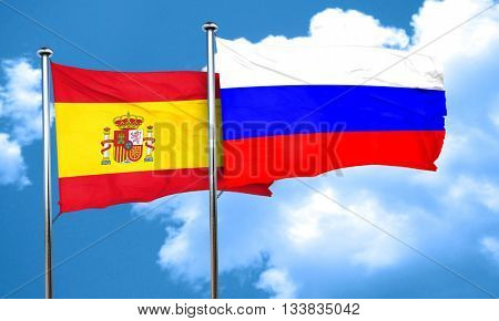 Spanish flag with Russia flag, 3D rendering