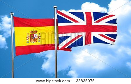 Spanish flag with Great Britain flag, 3D rendering