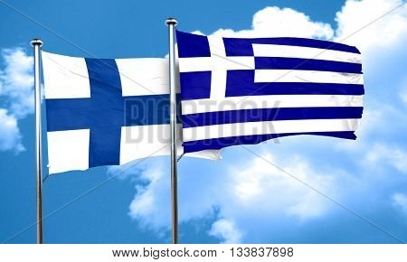 finland flag with Greece flag, 3D rendering