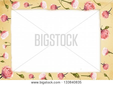 Card for congratulation or invitation with delicate pink roses
