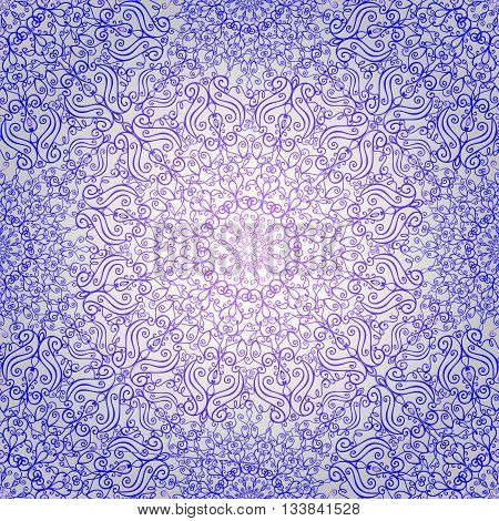 Mandala pattern, background.Vintage decorative ornament, background. East and Islam, Arabic, Indian, ottoman motifs and revival swirling.Abstract Tribal and ethnic texture.Orient, symmetry lace, fabric and wallpaper.Violet
