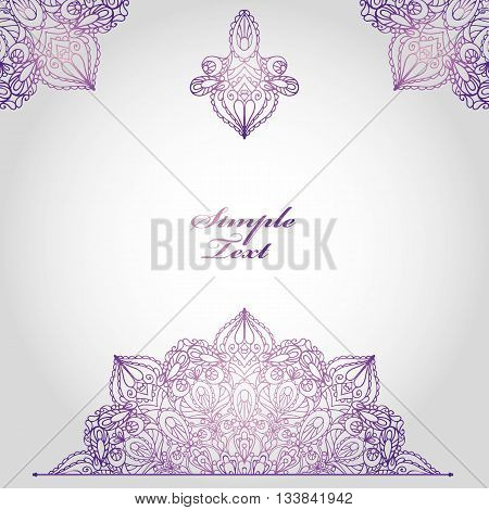 Mandala pattern and background.Vintage decorative ornament, background. East and Islam, Arabic and Indian, motifs.Ethnic texture.Orient, symmetry lace, fabric and wallpaper.Wedding and holiday card.