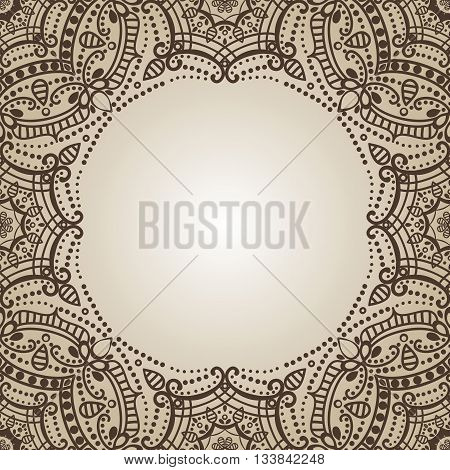 Mandala pattern.Vintage vector decorative ornament and background. East, Islam, Arabic, Indian, ottoman and Orient motifs.Abstract Tribal and ethnic texture. Symmetry Brown mosaic.Henna decoration.