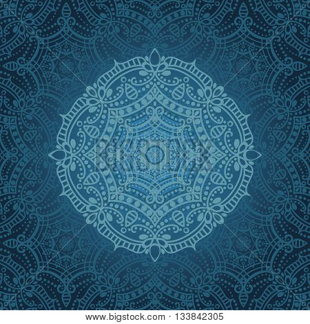Mandala pattern.Vintage vector decorative ornament and background.East, Islam, Arabic, Indian, ottoman and Orient motifs.Abstract Tribal, ethnic texture.Symmetry blue mosaic, lace and round decoration.