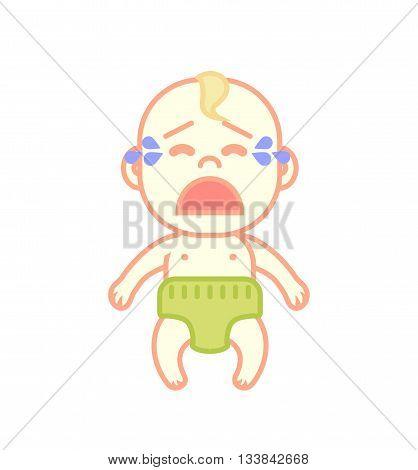 Little newborn baby cries flat vector illustration