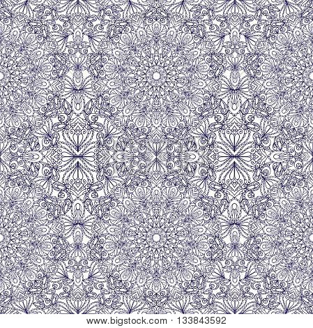 Mandala seamless pattern and background. Vintage decorative ornament. Hand drawn background. East, Islam, Arabic, Indian and ottoman motifs.Abstract Tribal and ethnic texture.Orient, symmetry lace, fabric and wallpaper
