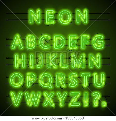 Neon font text. Neon green font eps. Lamp green font. Alphabet font. Vector illustration