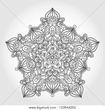Mandala pattern Vintage decorative star ornament.Hand drawn background. East, Islam, Arabic Indian and ottoman motifs.Abstract Tribal, ethnic, heart texture.Orient, symmetry lace, meditation symbol