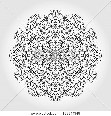 Mandala pattern. Vintage decorative ornament.Hand drawn swirls background. East, Islam, Arabic Indian and ottoman motifs.Abstract Tribal and ethnic texture.Orient, symmetry lace, meditation symbol.