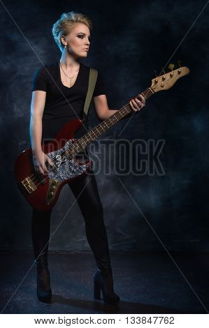 Rock Star Playing Bass Guitar