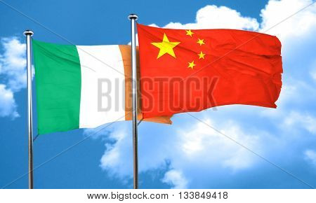 Ireland flag with China flag, 3D rendering