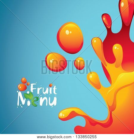 vector banner with the inscription fruit menu and drops and splashes fresh juices
